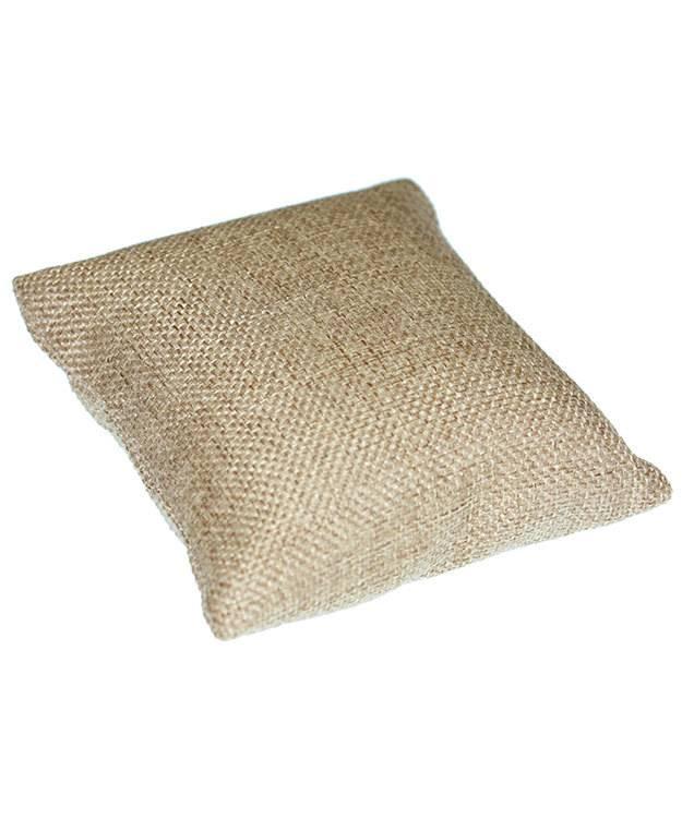 DIS3120 = Burlap Pillow for Watches or Bracelets 4''x4'' (Pkg of 5)
