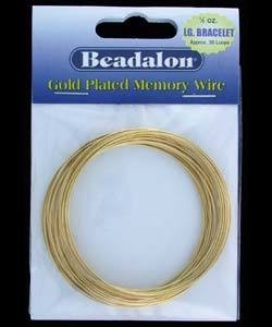 CD45004K = MEMORY WIRE LARGE BRACELET SIZE GOLD PLATED (1/2oz Pkg)