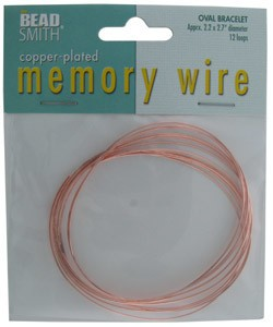 CD45006C = Memory Wire Copper Plated Oval Bracelet Size 2.2'' x 2.7''