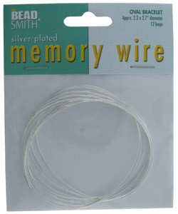 CD45006S = MEMORY WIRE OVAL SILVER PLATED BRACELET SIZE 2.2'' x 2.7''