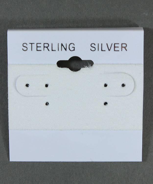 DER812 = Hanging Earring Cards White 2'' Imprint ''STERLING SILVER'' (Pkg of 100)