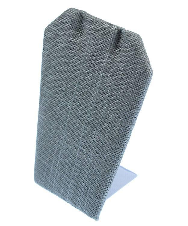 DER7003 = Grey Linen Earring Display Stand 2-1/2'' x 1-3/4'' x 3-1/4''H (Pkg of 3)