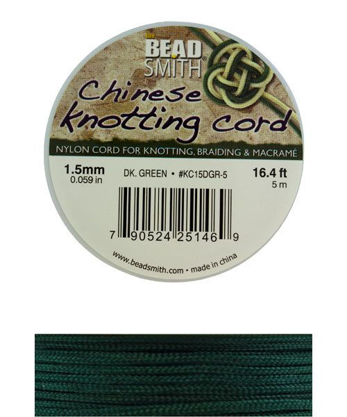 CD7553 = Chinese Knotting Cord 1.5mm DARK GREEN 5 Meter Spool
