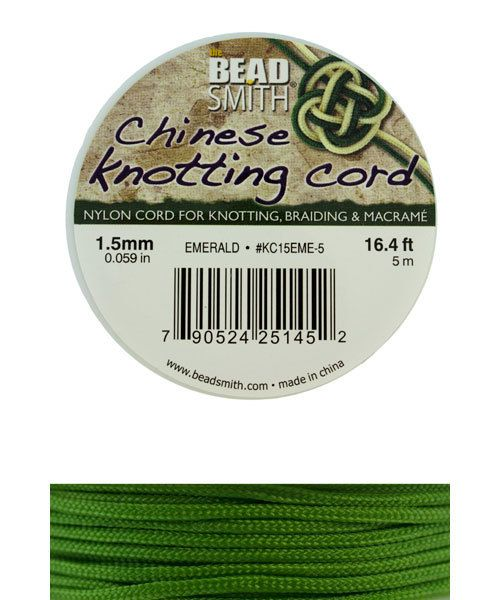 CD7555 = Chinese Knotting Cord 1.5mm EMERALD 5 Meter Spool
