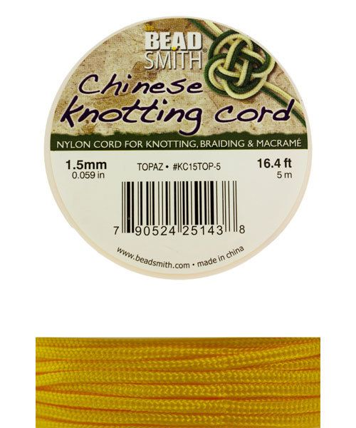 CD7562 = Chinese Knotting Cord 1.5mm TOPAZ 5 Meter Spool