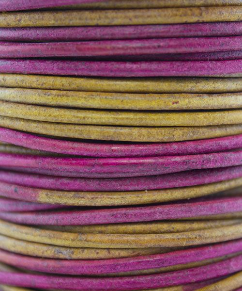 CD8554 = INDIAN LEATHER 2mm GYPSY DYED IRASA (Pkg of 10ft)