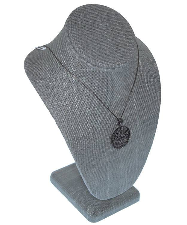 DCH7897 = Grey Linen Necklace Display 6-1/2'' wide x 10'' high
