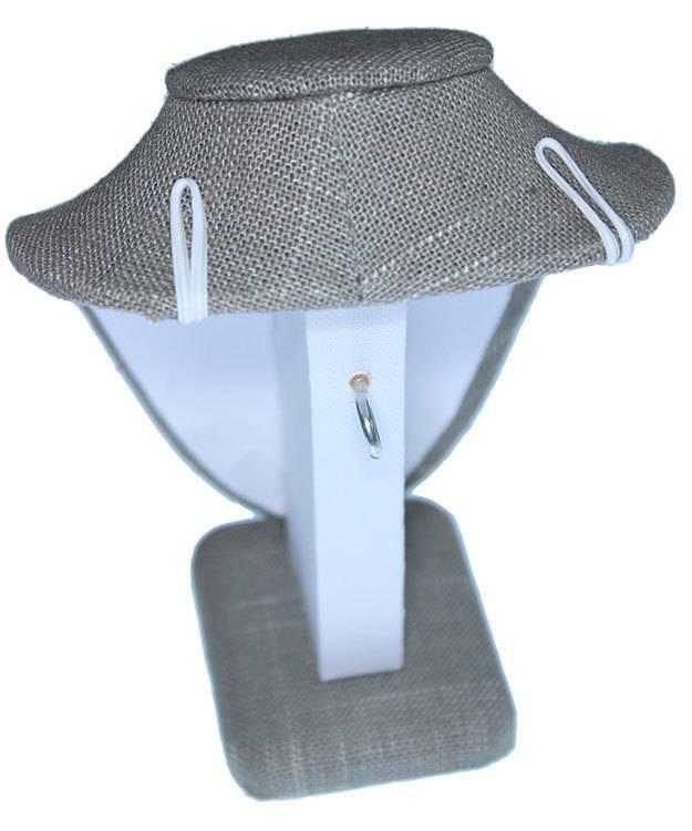 DCH7896 = Grey Linen Necklace Bust 4-1/4'' wide x 6'' high