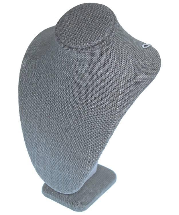 DCH7893 = Grey Linen Necklace Bust 5-1/4'' wide x 7-1/2'' high