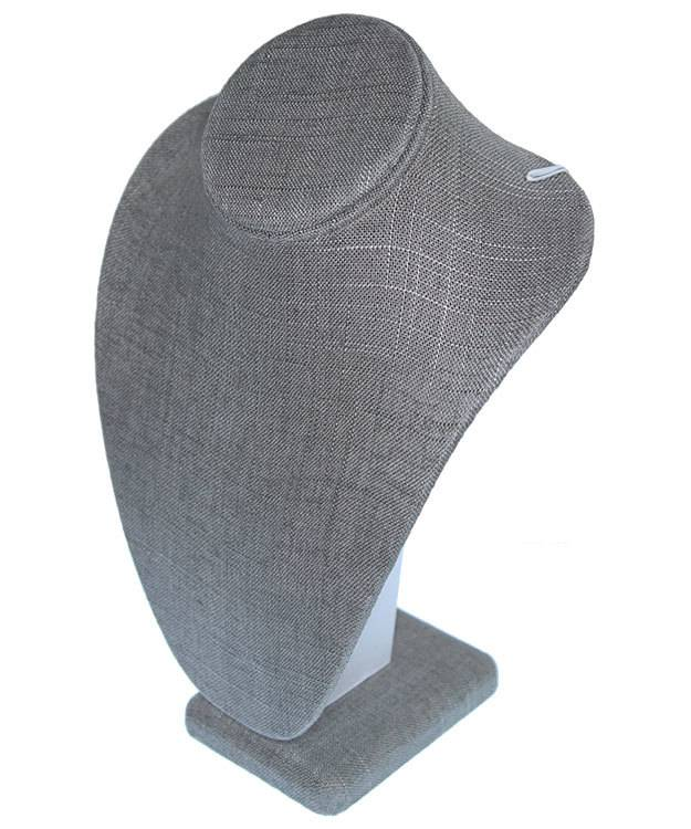 DCH7892 = Grey Linen Necklace Bust 7-1/2'' wide x 11'' high