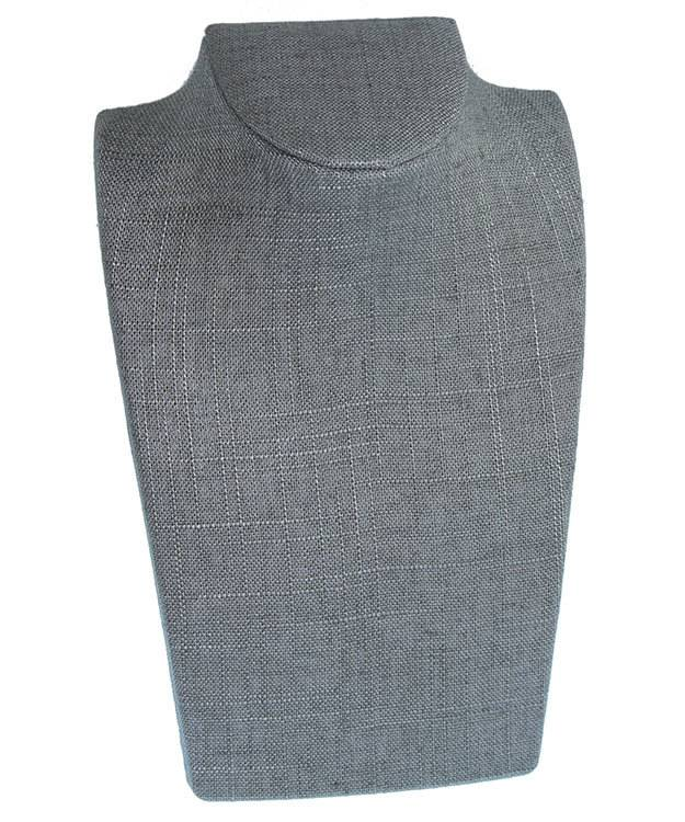 DCH7886 = Grey Linen Lightweight Necklace Display 5-5/8''W x 8-1/4''H