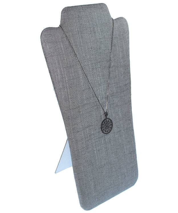DCH7709 = Grey Linen Flat Bust Display 7-7/8'' x 12-5/8''H