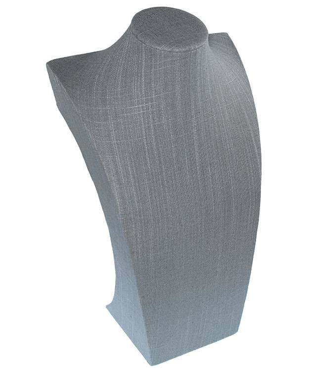 DCH7107 = Grey Linen Necklace Display 15-3/4'' high x 9-3/4'' wide