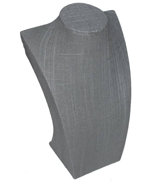 DCH7105 = Grey Linen Modern Bust Display 10''H x 6-1/2''W