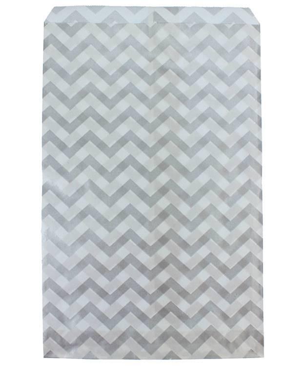 DBG1184 = Paper Gift Bag Silver Chevron Pattern 6'' x 9'' (Bundle of 100)