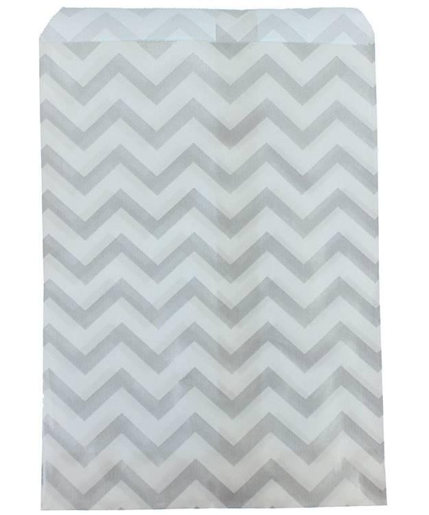 DBG1183 = Paper Gift Bag Silver Chevron Pattern 5'' x 7'' (Bundle of 100)