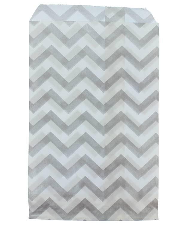 DBG1181 = Paper Gift Bag Silver Chevron Pattern 4'' x 6'' (Bundle of 100)