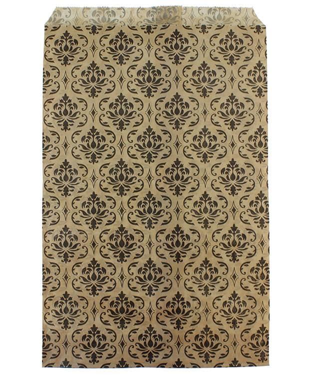 DBG1174 = Paper Gift Bag Black & Gold Damask Pattern 6'' x 9'' (Bundle of 100)