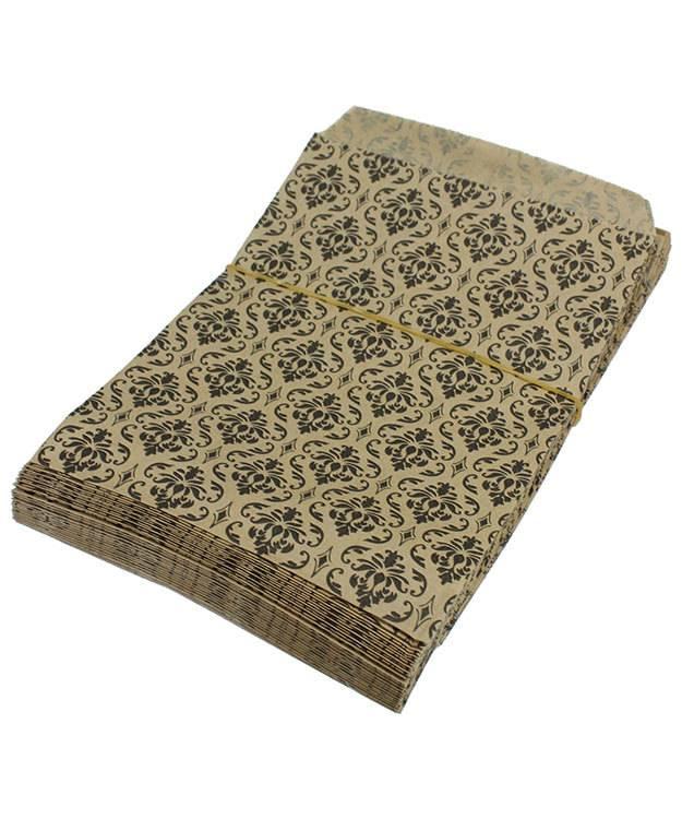 DBG1173 = Paper Gift Bag Black & Gold Damask Pattern 5'' x 7'' (Bundle of 100)