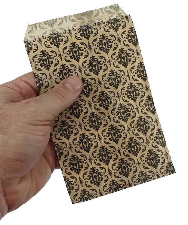 DBG1171 = Paper Gift Bag Black & Gold Damask Pattern 4'' x 6'' (Bundle of 100)
