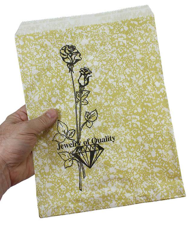 DBG1165 = Paper Gift Bag Gold and Black Pattern 8-1/2'' x 11''  (Bundle of 100)