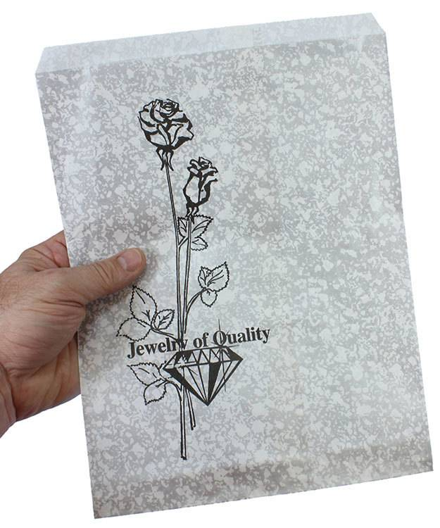 DBG1155 = Paper Gift Bag Silver and Black Pattern 8-1/2'' x 11'' (Pkg of 100)