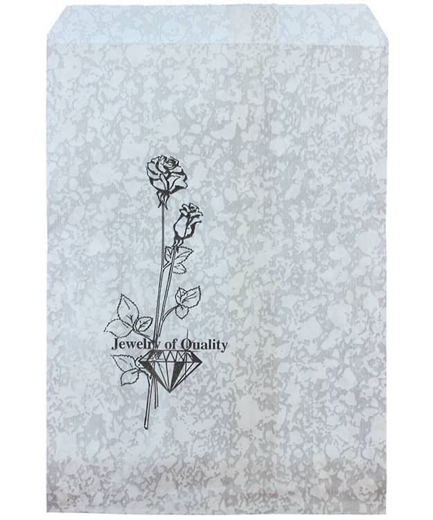 DBG1153 = Paper Gift Bag Silver and Black Pattern 5'' x 7'' (Bundle of 100)