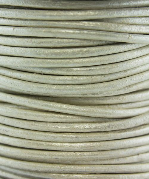 CD8650 = INDIAN LEATHER 2mm METALLIC SILVER (Pkg of 10ft)