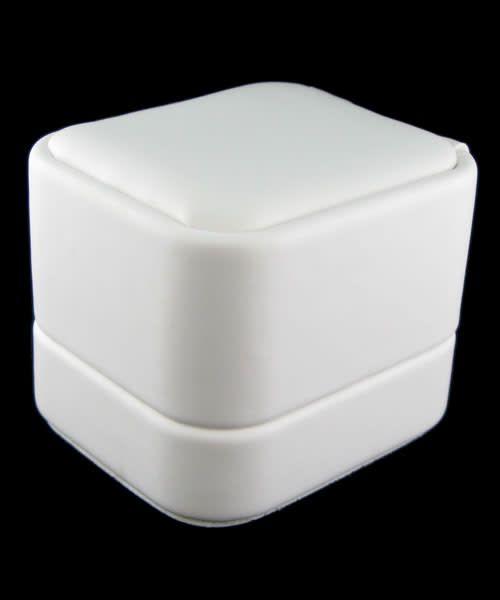 DBX5841W = White Leatherette Round Corner Earring Box (EACH)