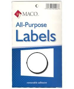 Maco Labels DTA6406 = Round White Adhesive Labels 1/2'' dia. (Pkg of 1000)