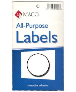 Maco Labels DTA6408 = Round White Adhesive Labels 3/4'' dia. (Pkg of 1000)