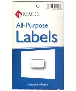Maco Labels DTA6414 = Rectangular White Adhesive Labels 3/8'' x 5/8'' (Pkg of 1000)