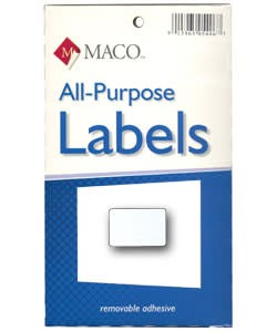 Maco Labels DTA6418 = Rectangular White Adhesive Labels 1/2'' x 3/4'' (Pkg of 1000)