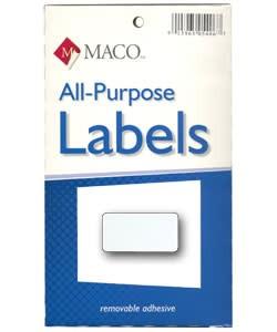 Maco Labels DTA6420 = Rectangular White Adhesive Labels 1/2'' x 1'' (Pkg of 1000)
