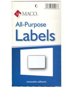 Maco Labels DTA6424 = Rectangular White Adhesive Labels 5/8'' x 7/8'' (Pkg of 1000)