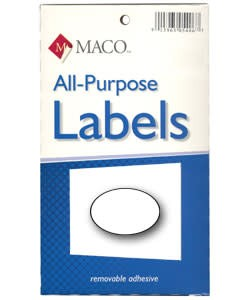 Maco Labels DTA6449 = Oval White Adhesive Labels 1/2'' x 3/8'' (Pkg of 1000)
