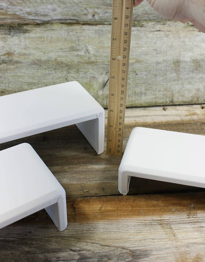 DIS6516 = White Leatherette Riser Set of 3pcs