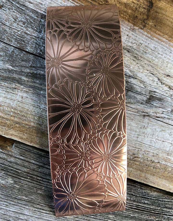 CSP4620 = Patterned Copper Sheet ''Mum's the Word''  2'' x 6'' 20ga