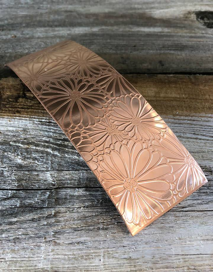 CSP4624 = Patterned Copper Sheet ''Mum's the Word''  2'' x 6'' 24ga