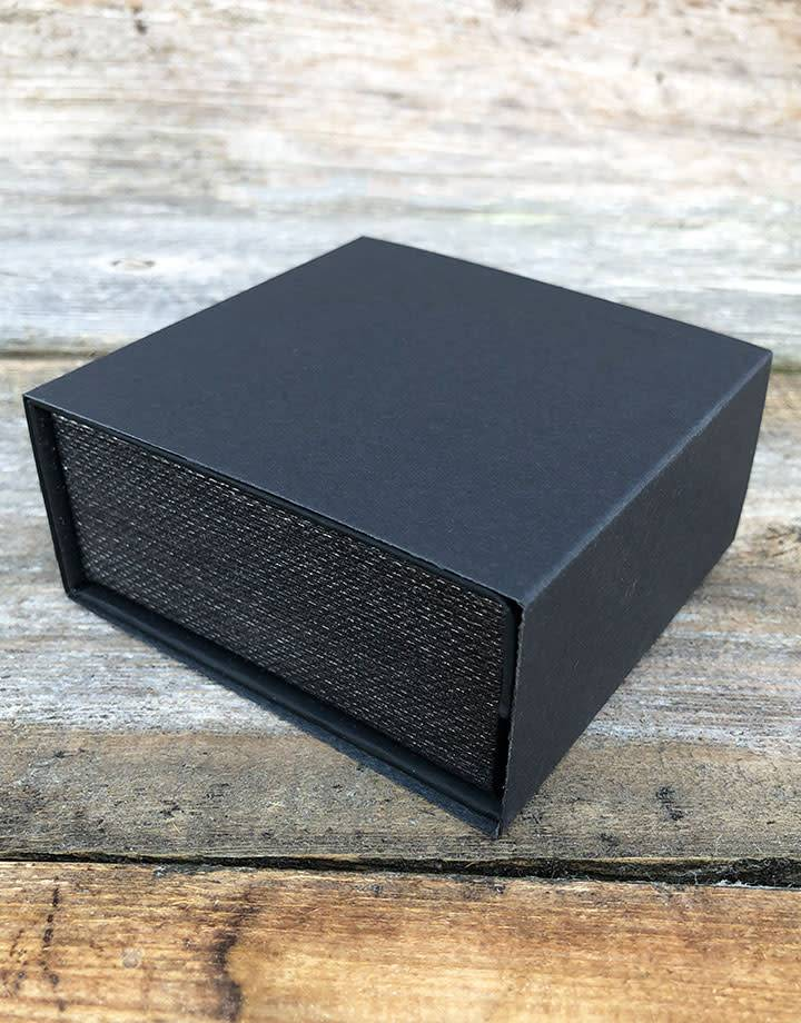 DBX4251 = Deluxe Magnetic Black/Silver Combination Box 3-3/8'' x 3-3/8'' x 1-3/8'' (Each)