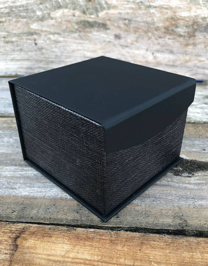 DBX4252 = Deluxe Magnetic Black/Silver Watch Box 4'' x 4'' x 2-1/4'' (Each)