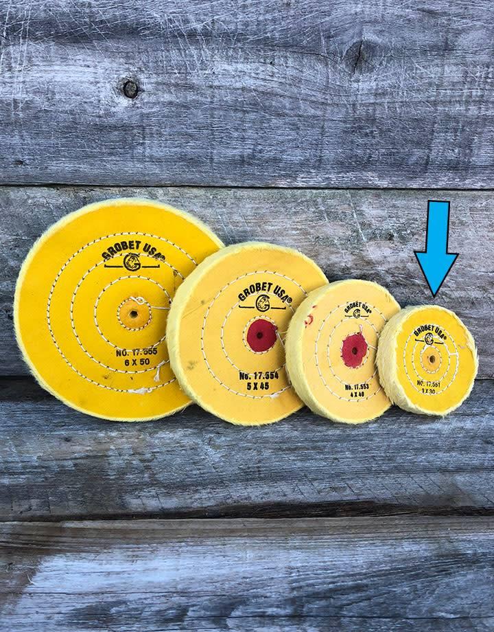 Grobet USA 17.551 = Yellow Treated Muslin Buff 3''x30 Ply