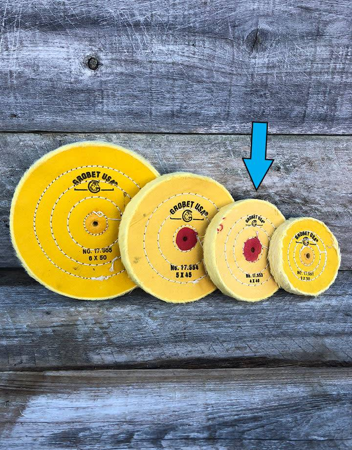 Grobet USA 17.553 = Yellow Treated Muslin Buff 4''x40 Ply