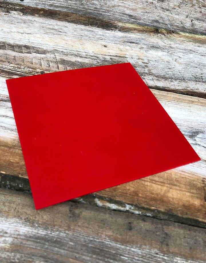 AN425 = 95 Durometer Red Urethane Pad 6'' x 6'' x 1/16''