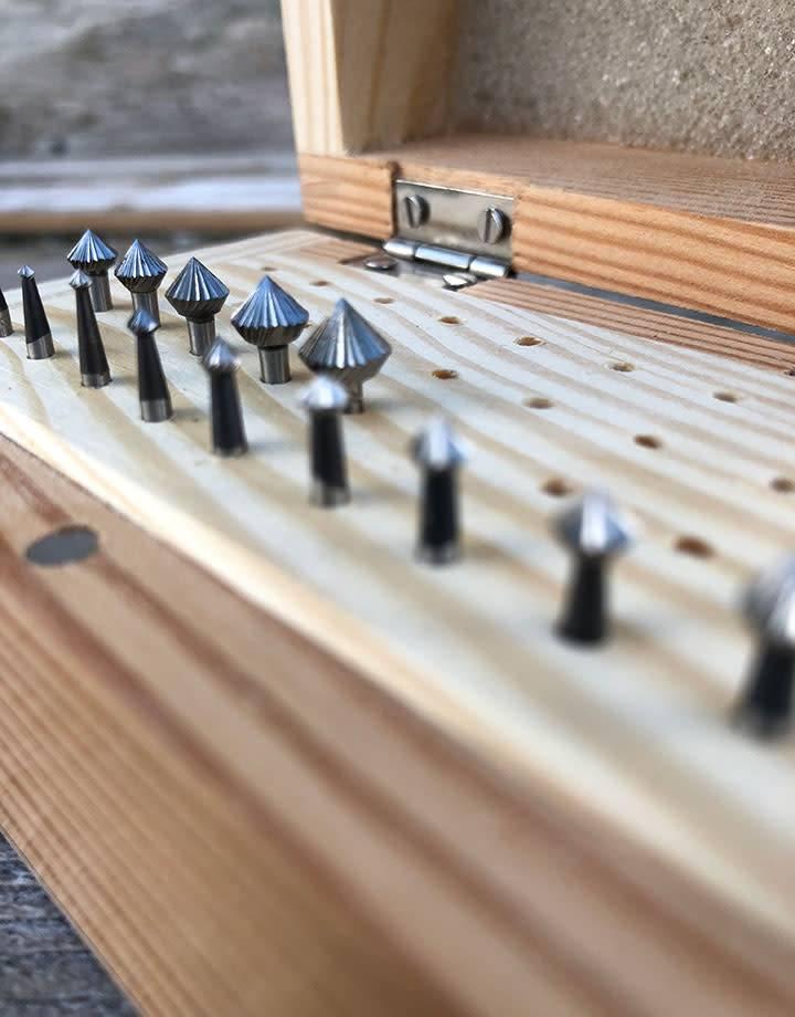 Spearhead Burs 19.318 = 90deg Bearing Bur Set 14pcs (1.1 to 7.2mm) HS Steel