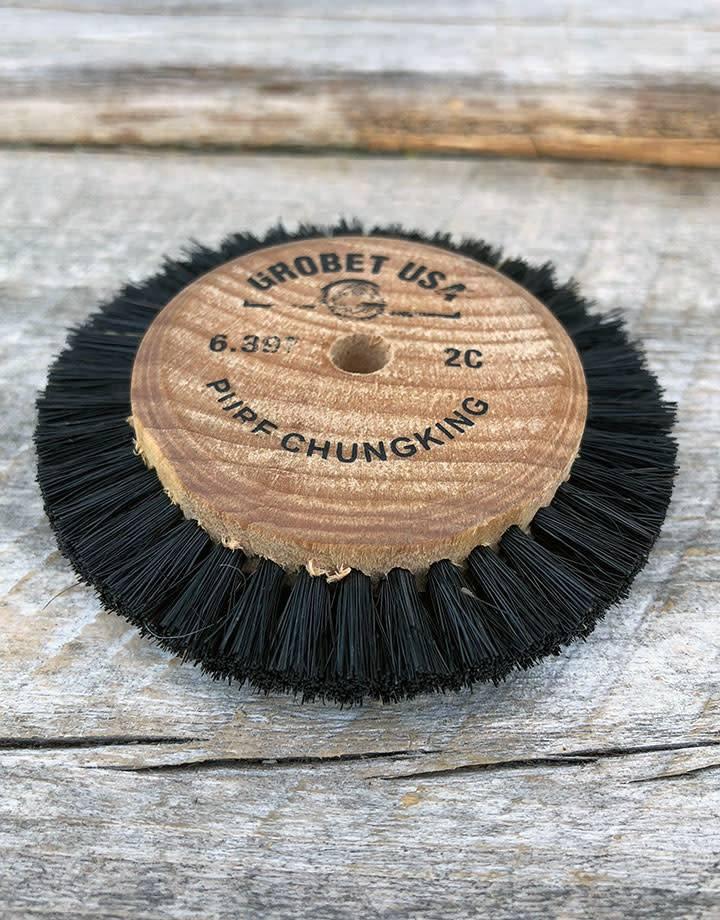 Grobet USA 16.397 = Wood Hub Bristle Brush 2 Rows 2-5/8'' dia.