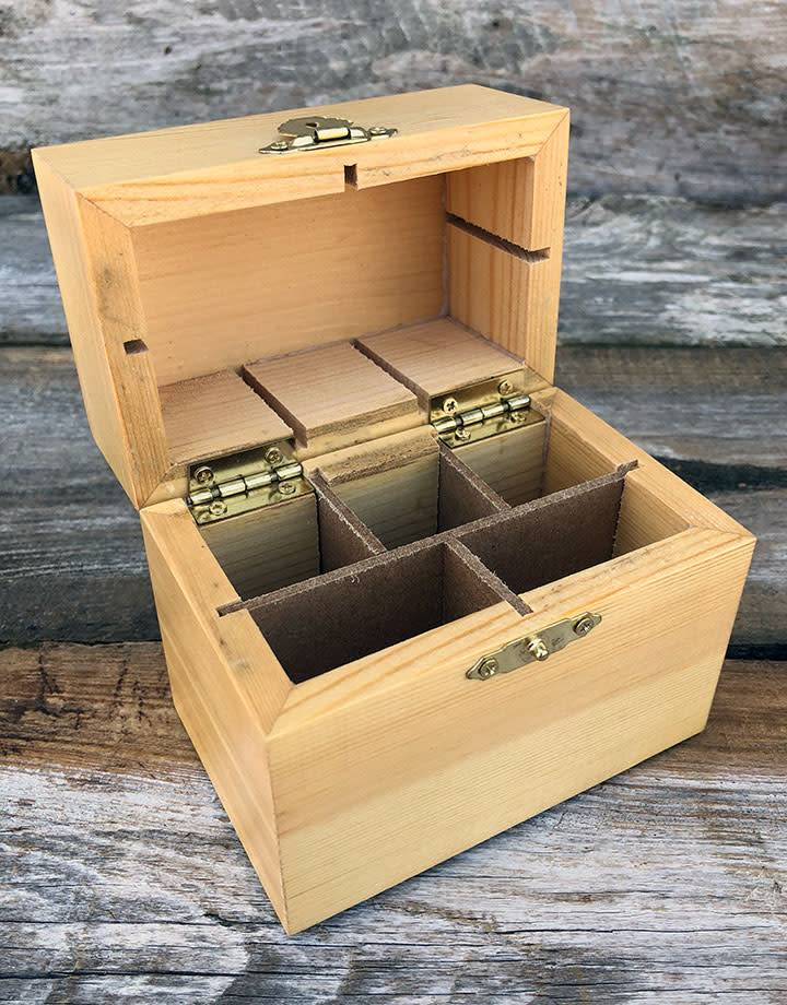 56.748 = Wood Storage Box for Gold Testing Solutions (3 Bottles and Stone)