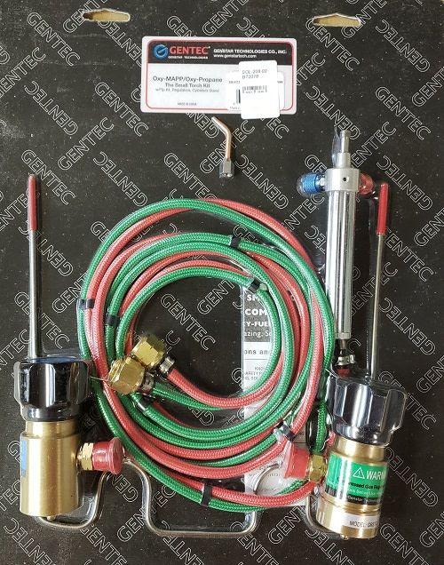 Gentec BT2018 = Small Torch Oxygen/Propane Kit with Disposable Tank Regulators