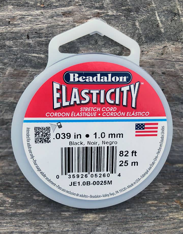 CD3042 = Elasticity by Beadalon Black 1.0mm / 25m Spool