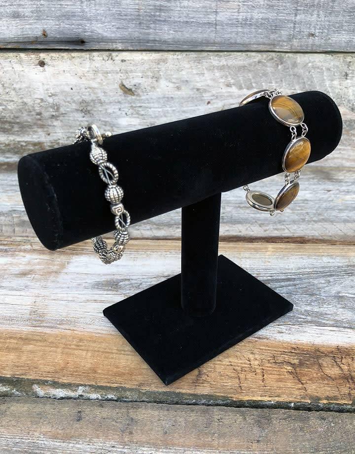 DBR1199 = Economy Black Velvet Bracelet T Bar  7-1/8'' W x 5-1/8'' W